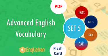 Advanced Word list with Printable Flashcards Set 5 PDF for IELTS,TOEFL, TOEIC , GRE ,CSS, UPSC and other language exam.