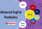 Advanced Vocabulary for Printable Flashcards Set 16 PDF IELTS,TOEFL, TOEIC , GRE ,CSS, UPSC and other language exam.