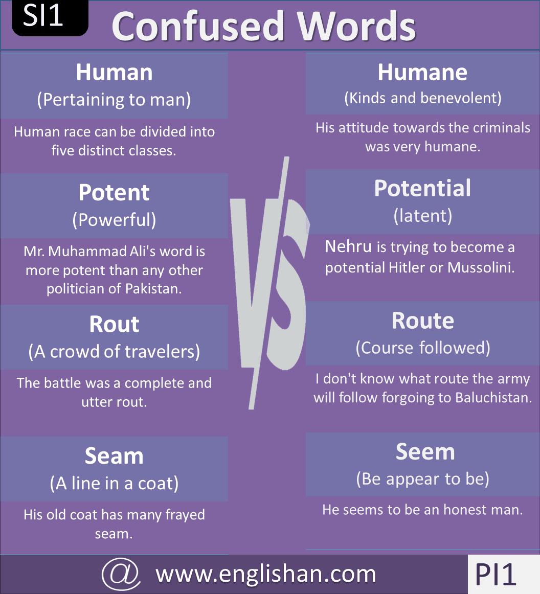 Confused Words List