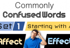 Words often Confused with Sentences in English - SET 1