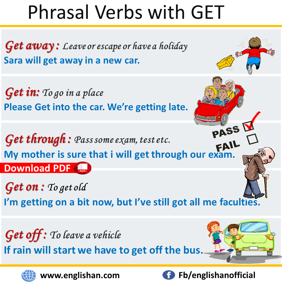 Phrasal Verbs with Get with Sentences and Meanings Download PDF Lesson