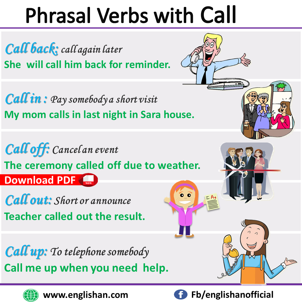 Phrasal Verbs with Call with example sentences