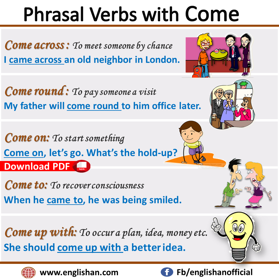 Phrasal Verbs with Come with example sentences and meanings - Help you learn important uses of preposition and adverbs