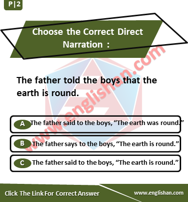 Choose the Correct Direct Narration | Exercise with Solution |Englishan
