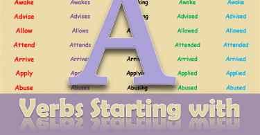 Verbs Starting with A | Regular & Irregular Verbs | Download PDF
