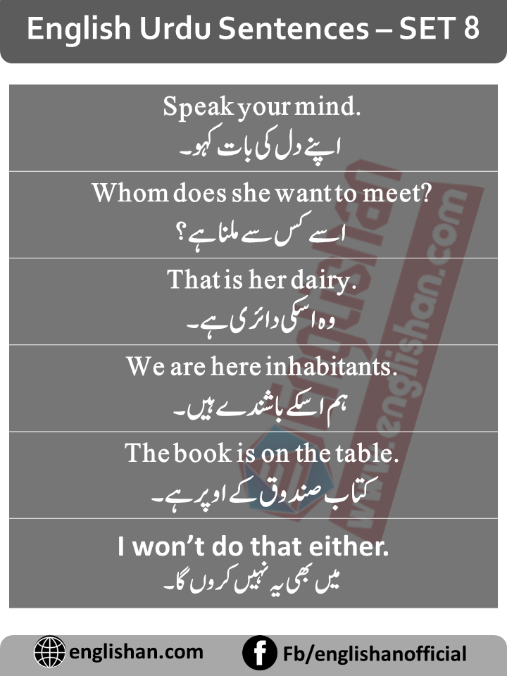 English Sentences of Daily Use with Urdu with PDF – SET 8