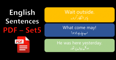 English Sentences of Daily Use with Urdu with PDF - SET 5