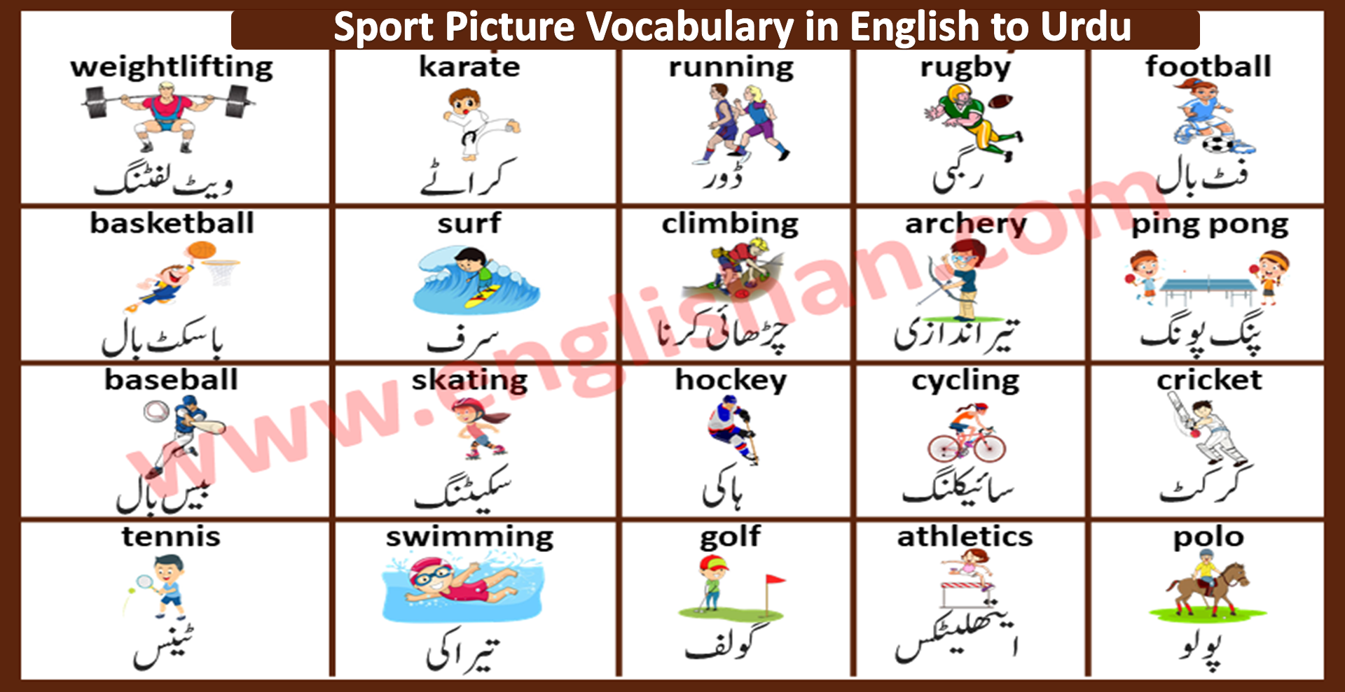 Sport Picture Vocabulary in English to Urdu