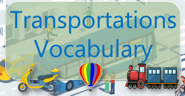 Transportation Vocabulary with images and Flashcards