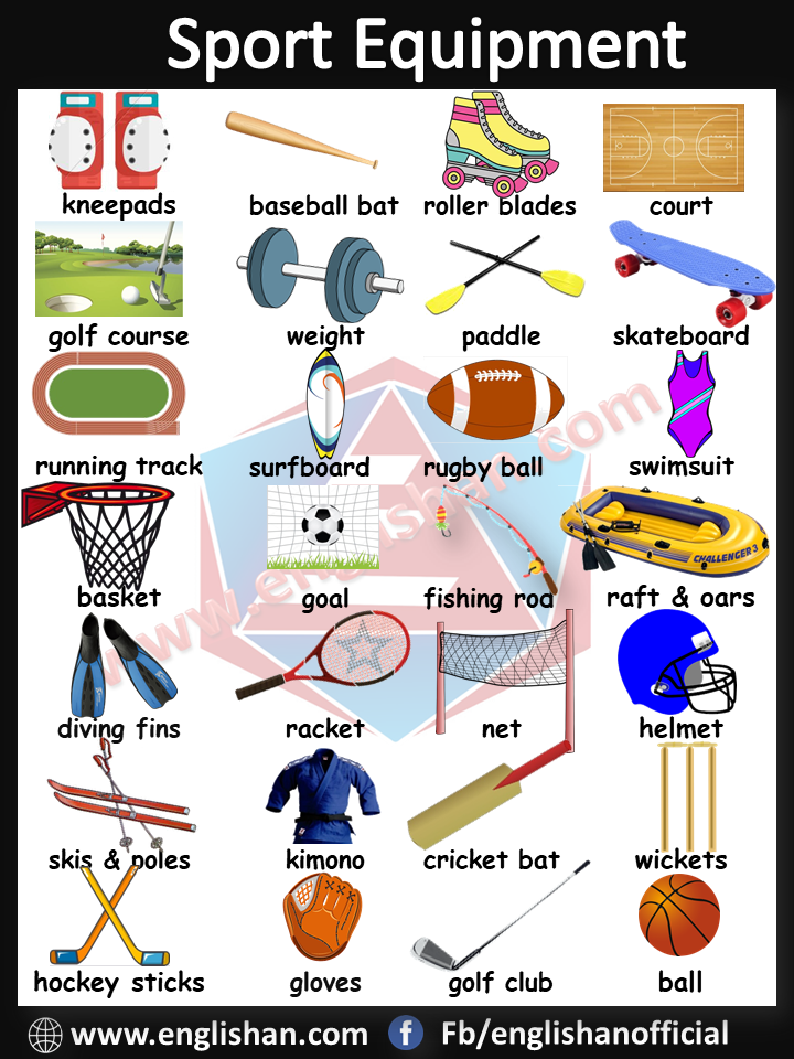 Sport Equipment Vocabulary with images and Flashcards