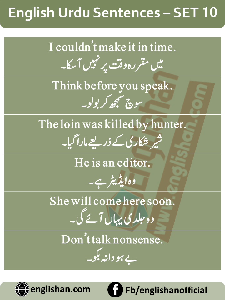 English Sentences of Daily Use with Urdu with PDF – SET 10