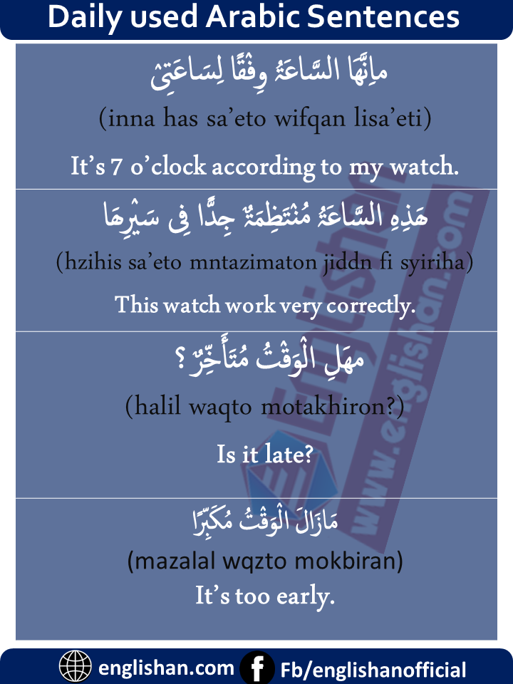 Arabic Sentences about The Time with English