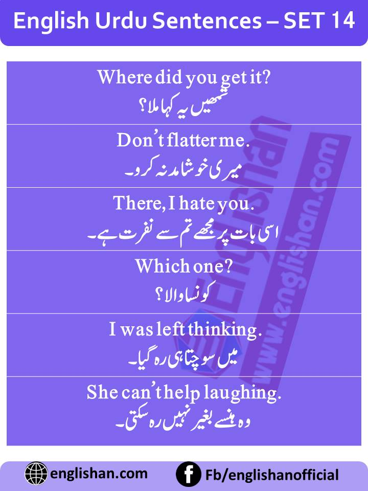 English Sentences of Daily Use with Urdu with PDF - SET 14