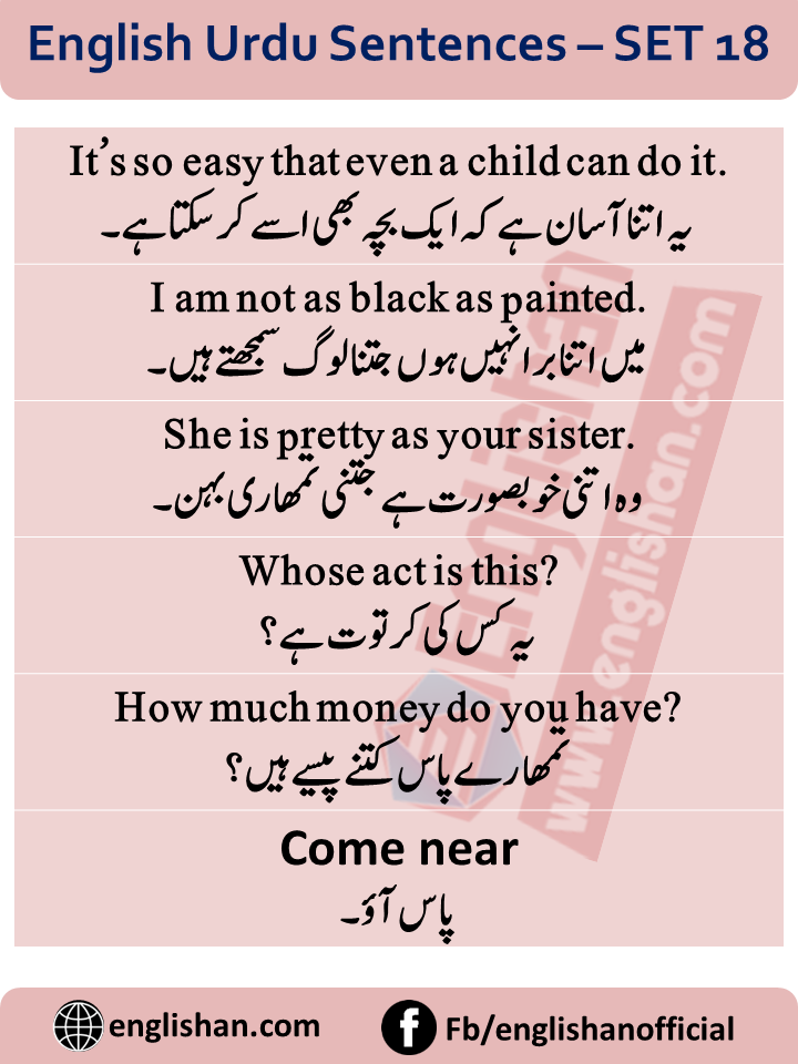 Urdu English conversation Sentences for Basic English learners