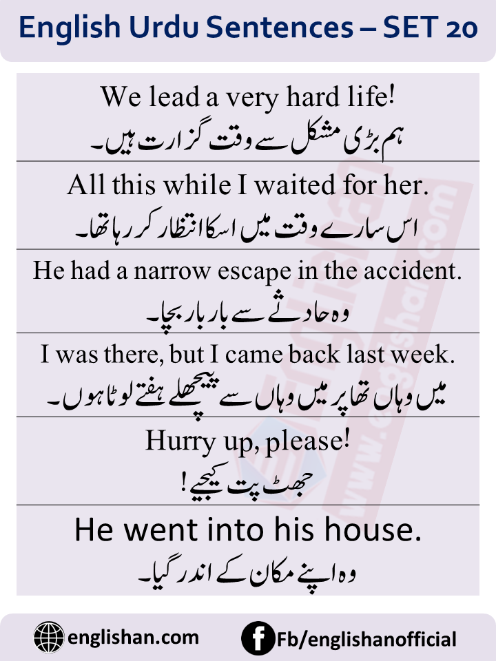 Translate Urdu sentences into English with PDF File