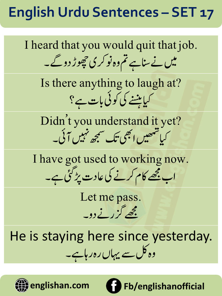 English To Urdu Sentences Translations With PDF File