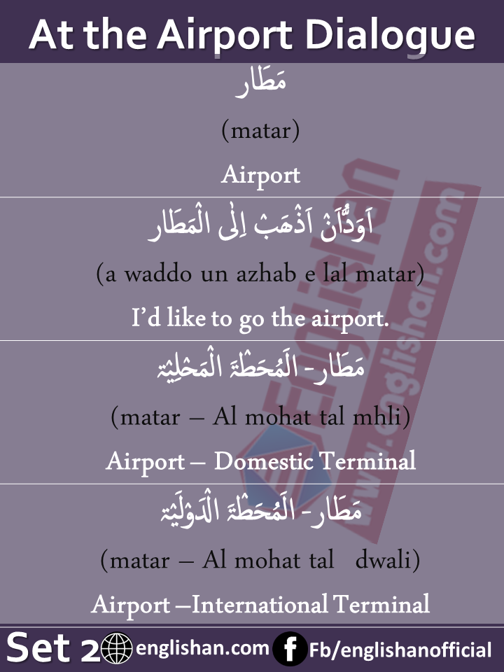 At the Airport Dialogue in Arabic with English with PDF – SET 2