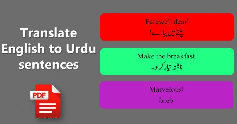 Translate Urdu sentences into English with PDF File