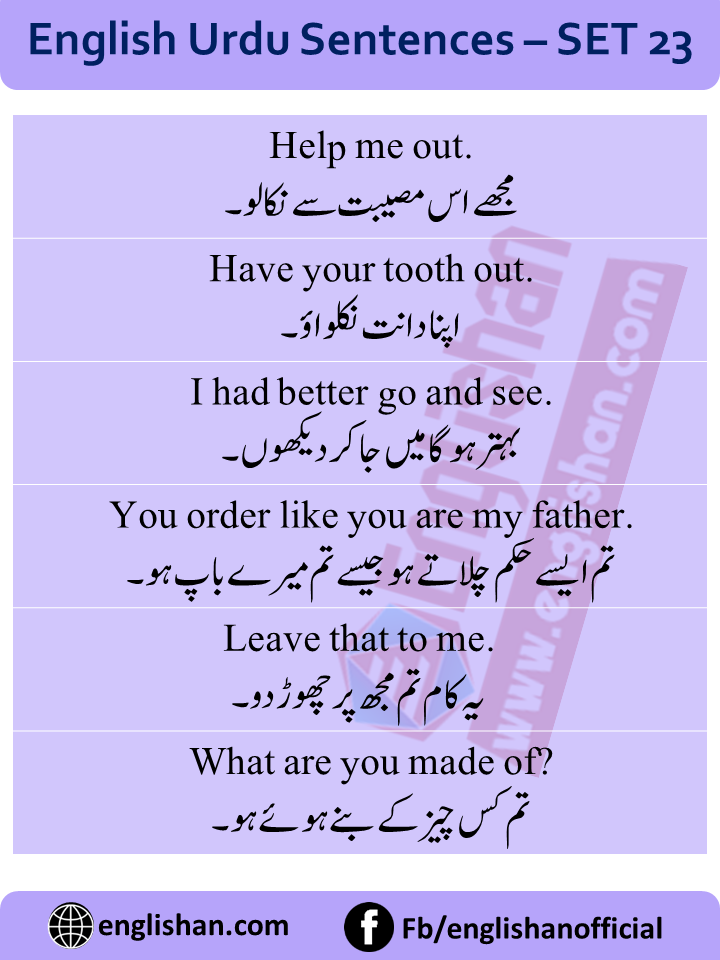 Daily routine English to Urdu sentences with PDF File