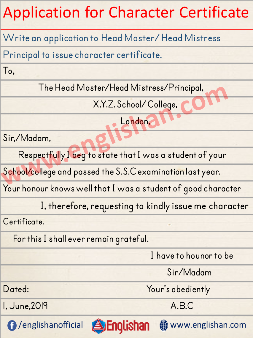 Character Certificate Applications
