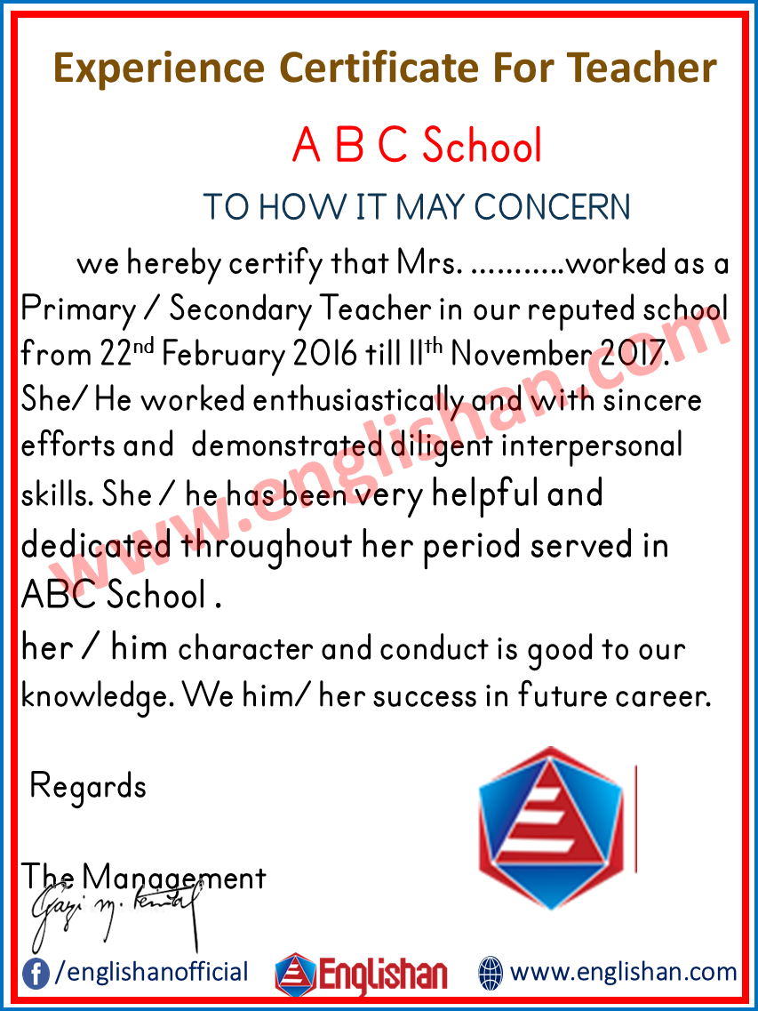 Experience Certificate For Teacher