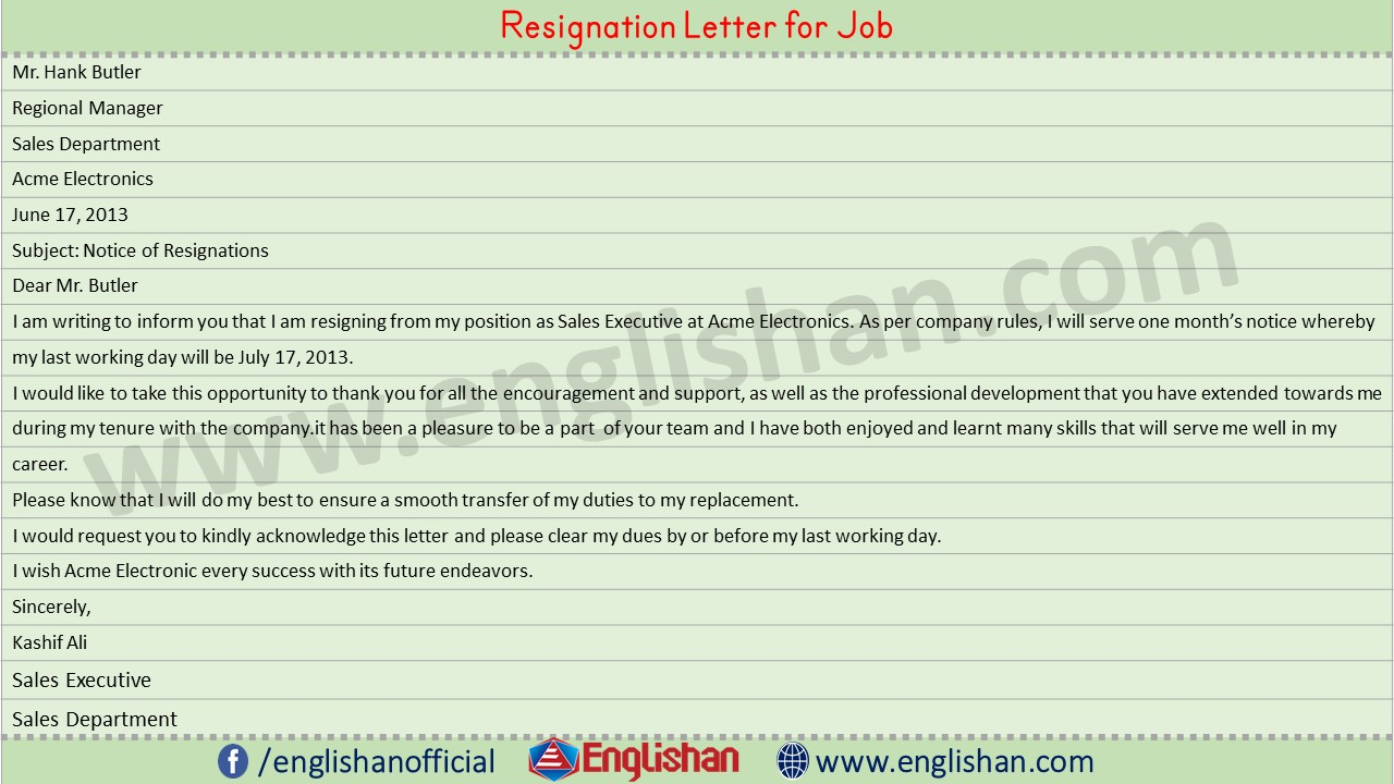 Resignation Letter for Job