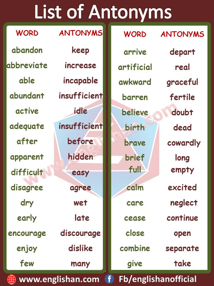 Opposite Words List