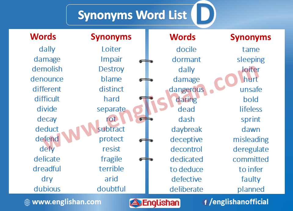 Synonyms List A To Z| Synonyms Word List - D