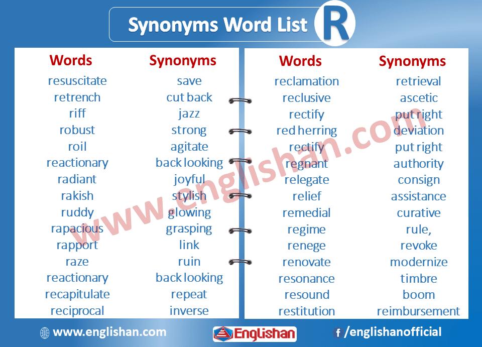 Synonyms Word List R