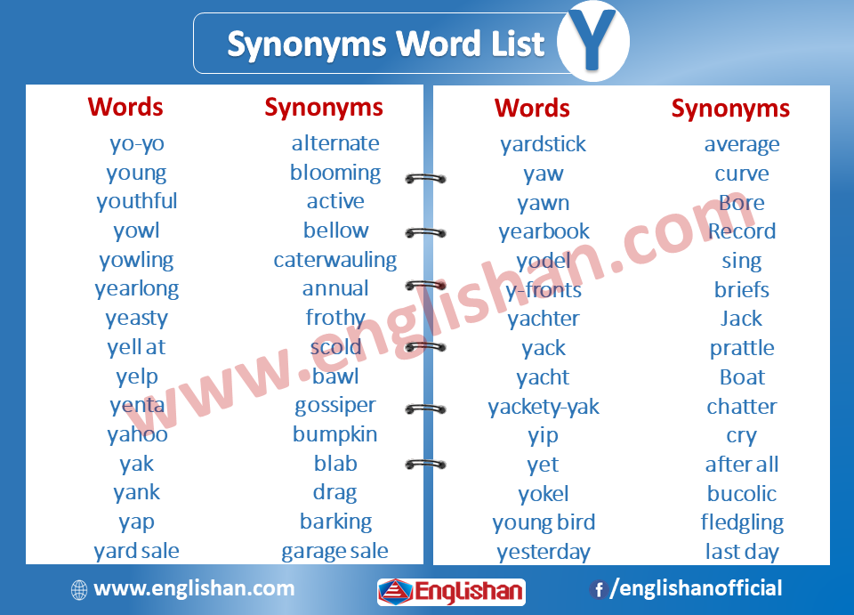 Synonyms Word List Y