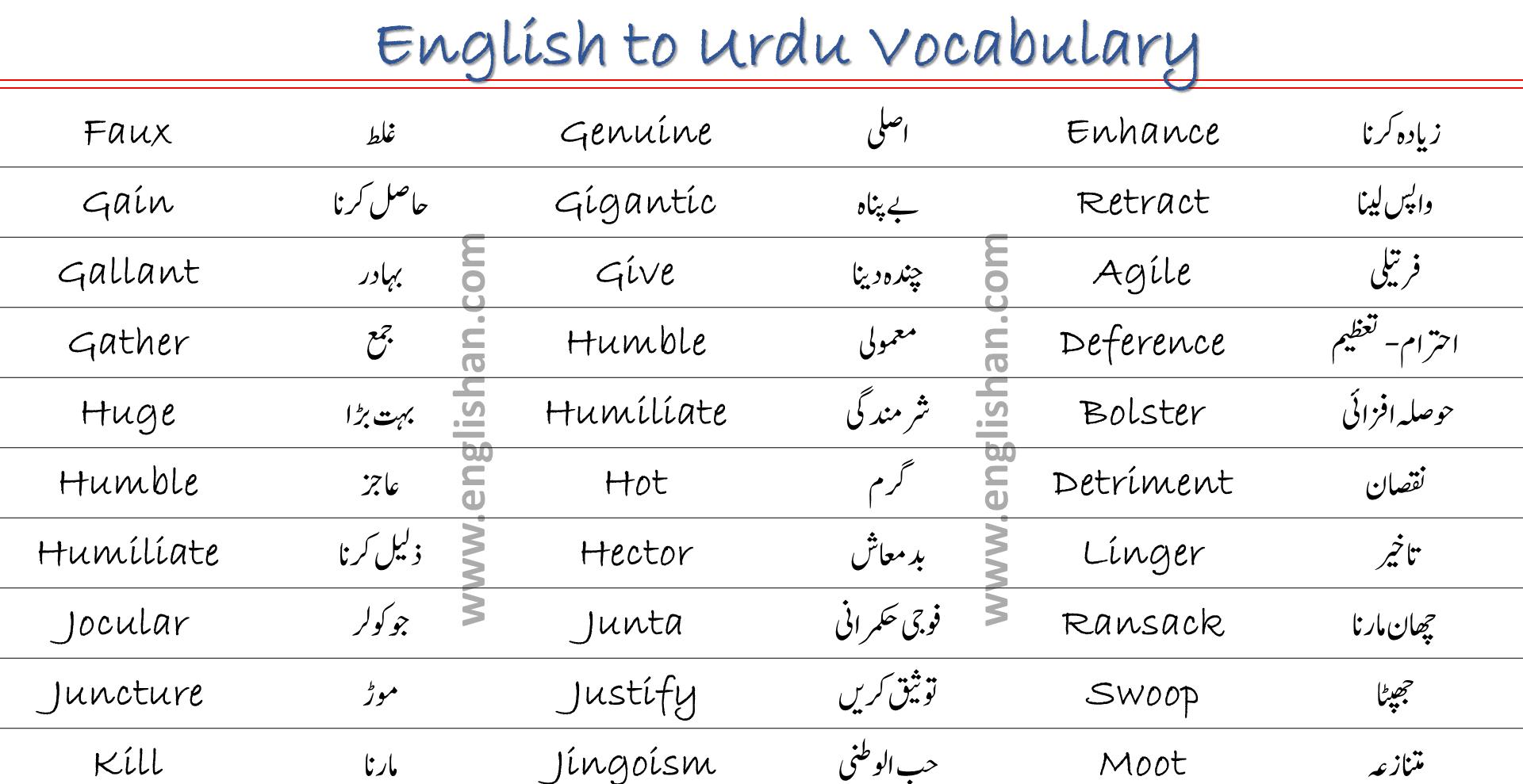 100 English to Urdu Vocabulary List