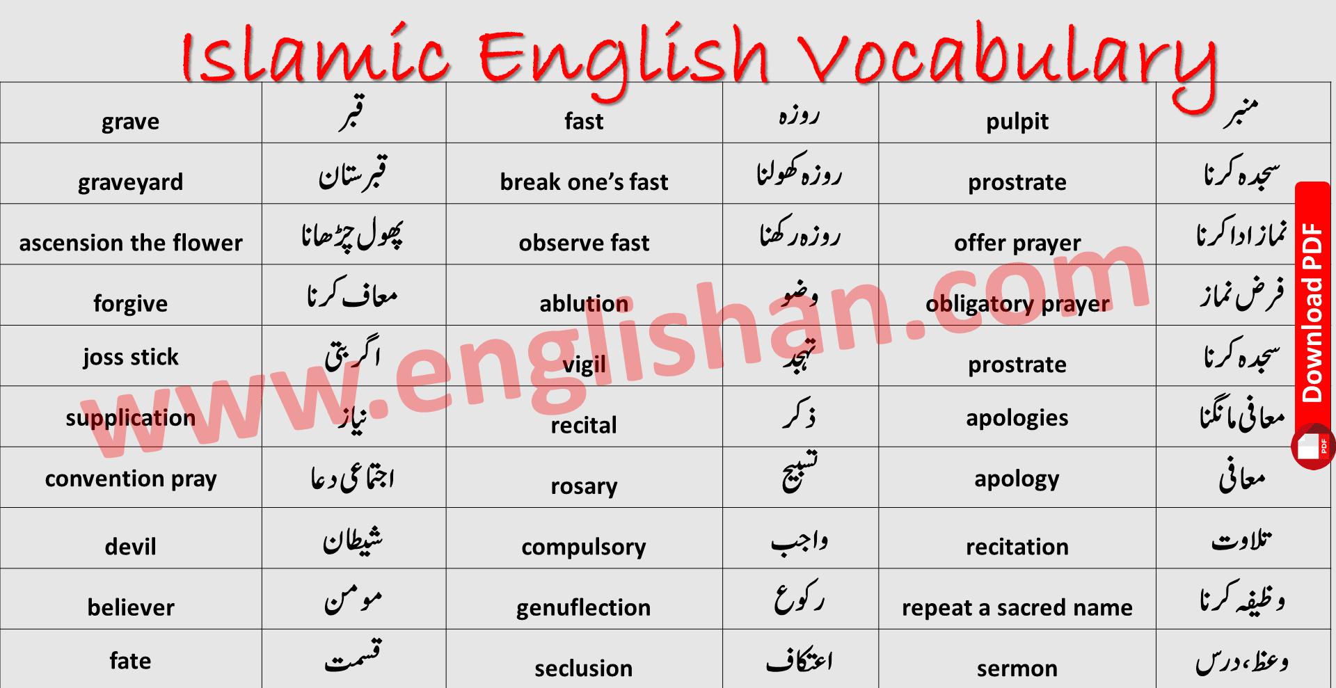 Islamic English Vocabulary