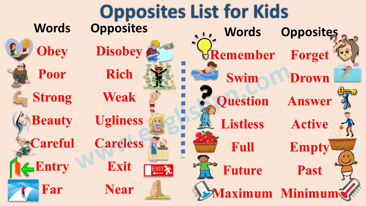 Opposites List for Kids