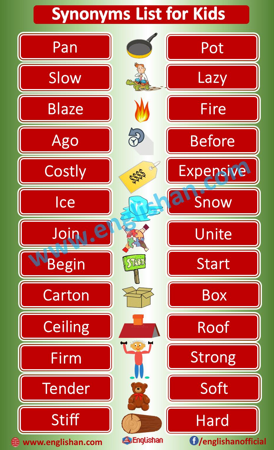 Kids Synonyms List PDF