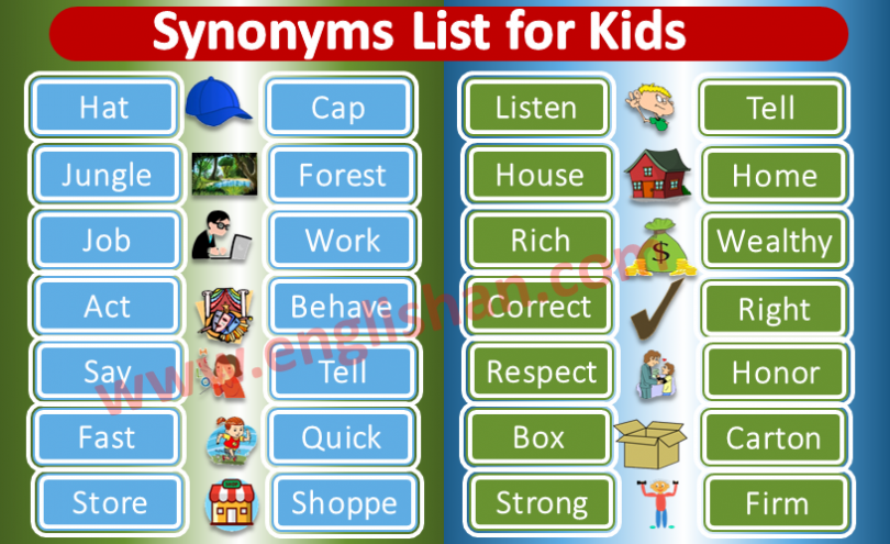 Synonyms List for Kids PDF