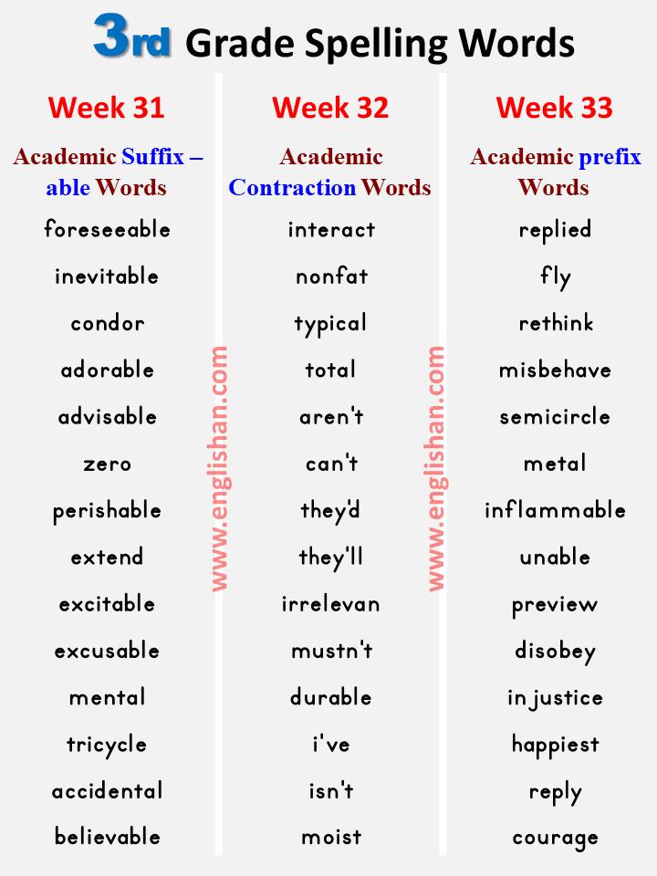3rd Grade Spelling