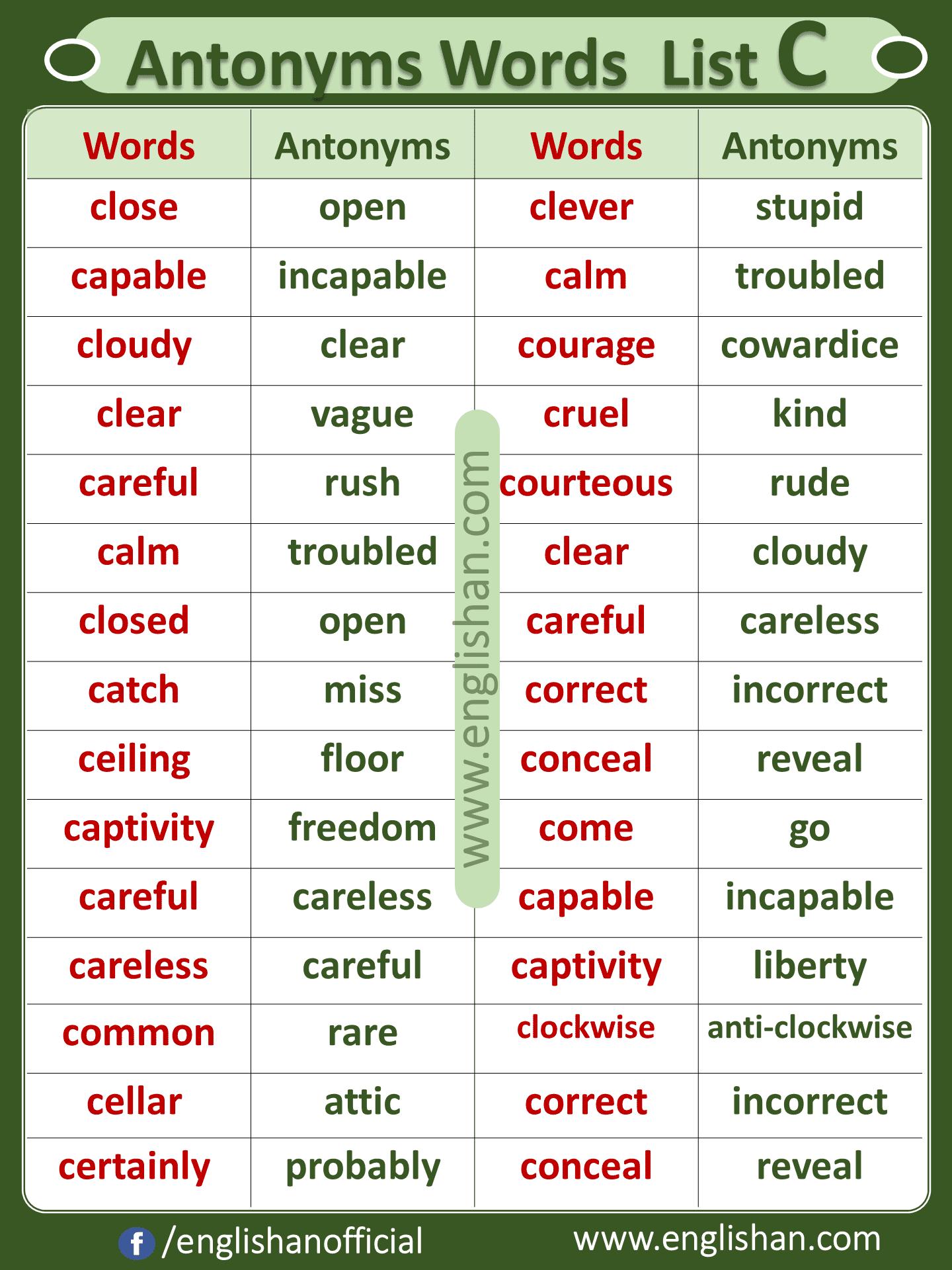 Antonym Words List C