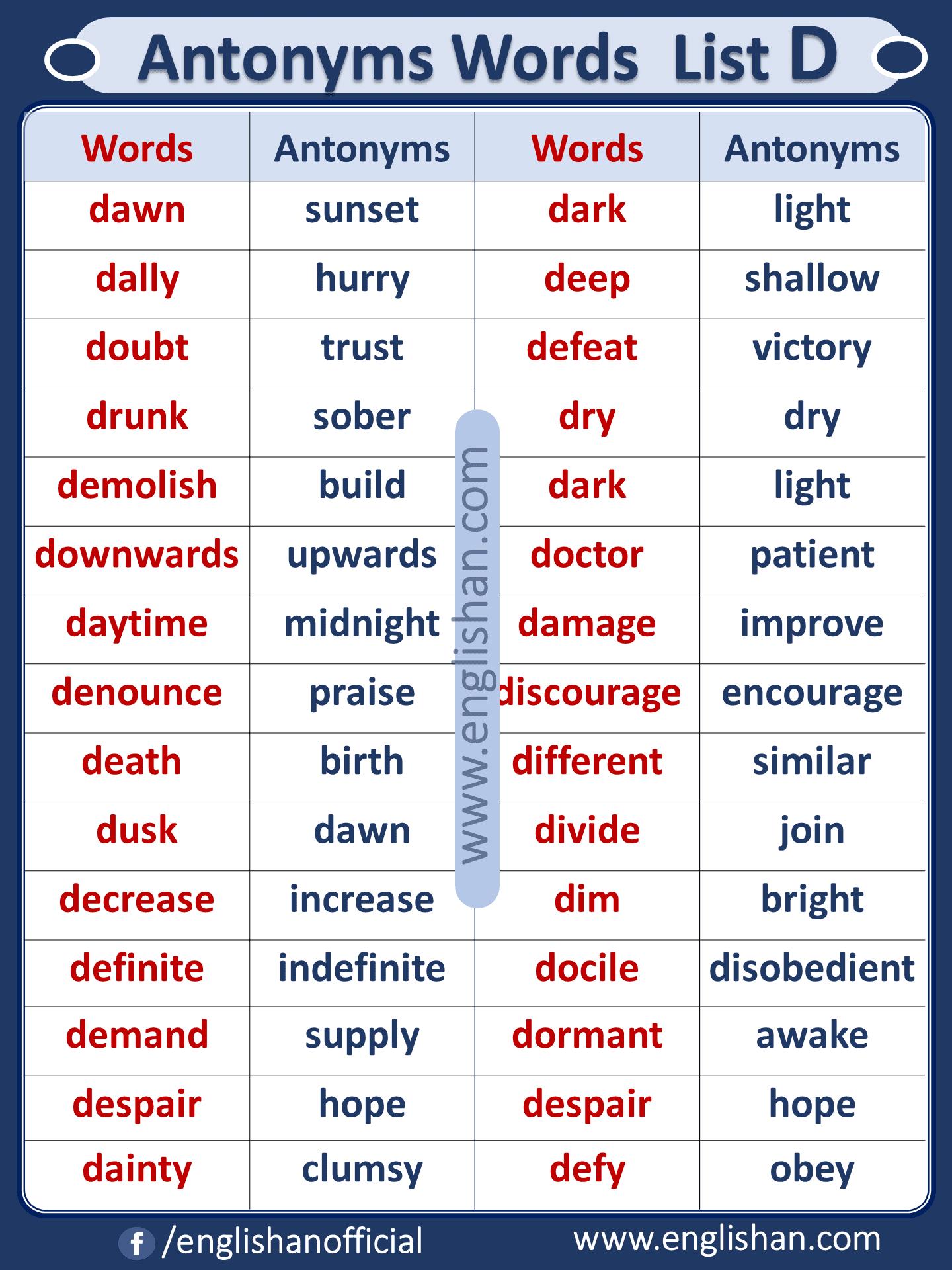 Antonym Words List D