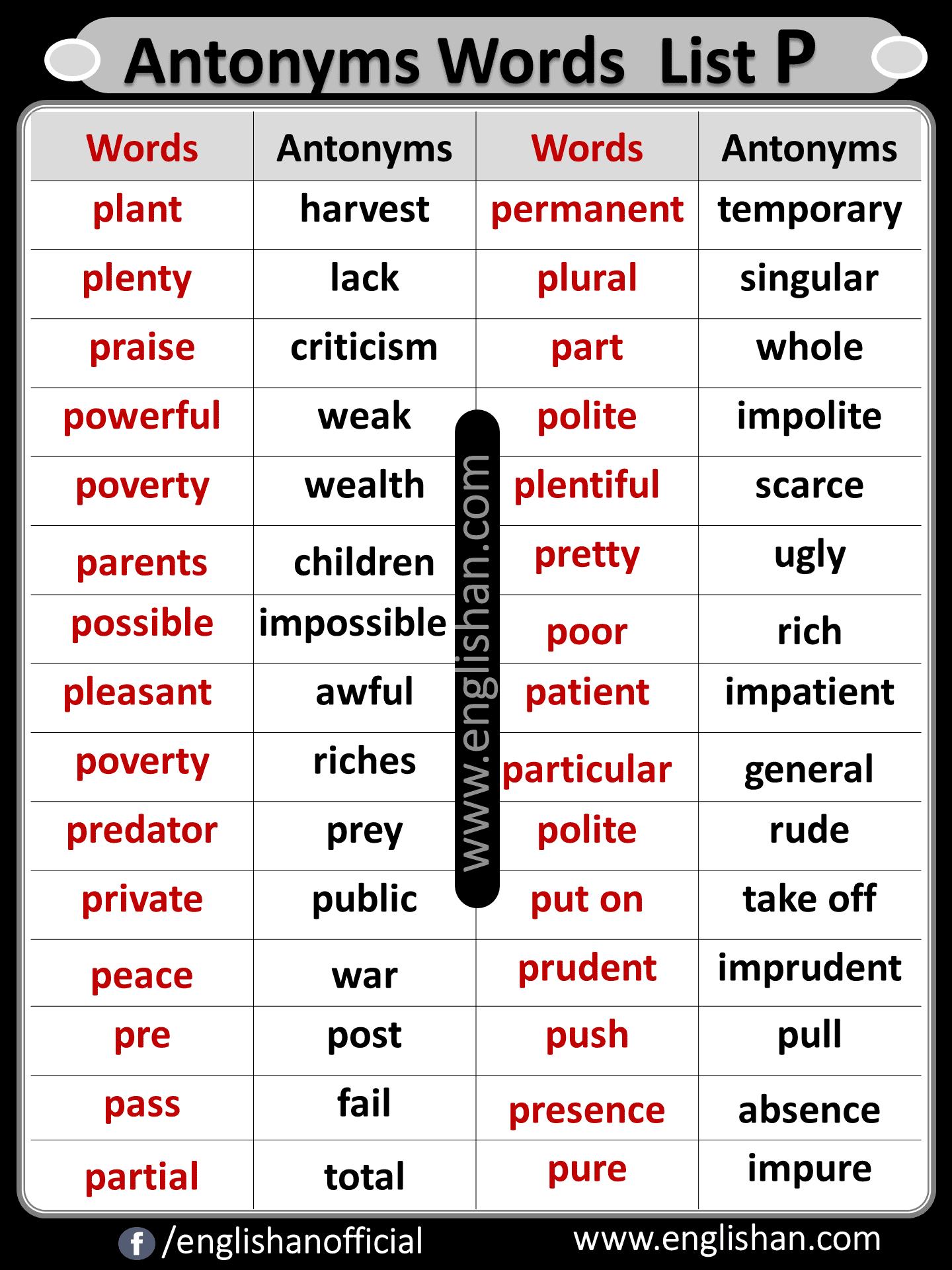 Antonyms Words List P