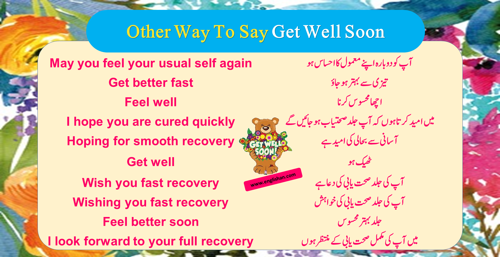 Other Way To Say Get Well Soon   synonyms and related Words