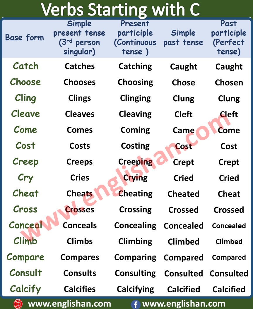 Verb Starting with C   500 Verbs Forms List A to Z with PDF