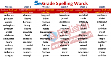 5th Grade Spelling Words List