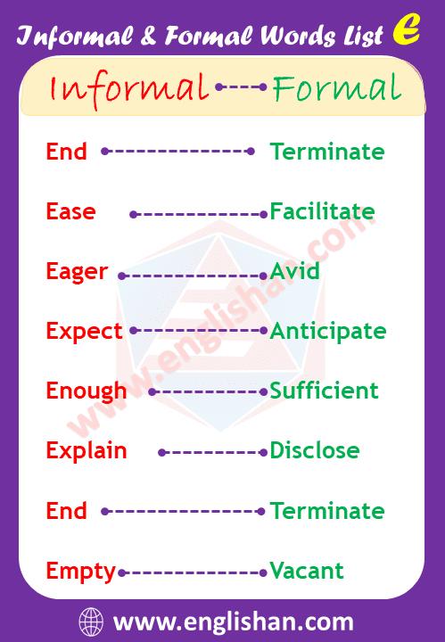 400 Formal and Informal Words List PDF