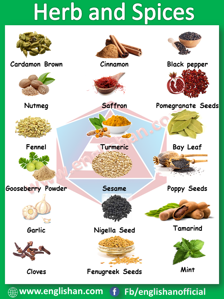 Herb and Spices Picture Vocabulary