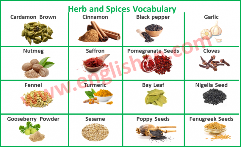 Herb and Spices Vocabulary