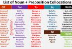 List of Noun + Preposition Collocations
