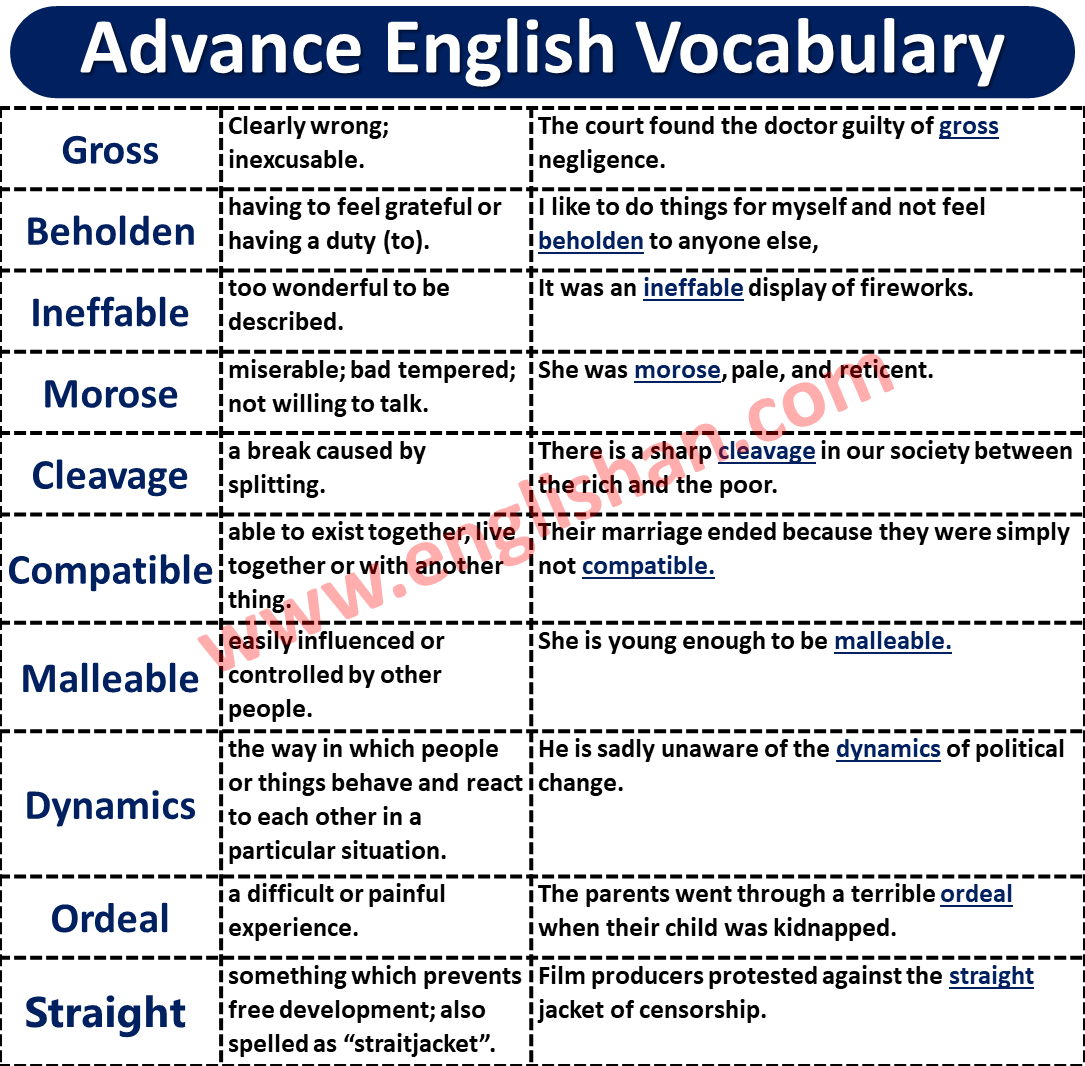 IELTS Vocabulary List