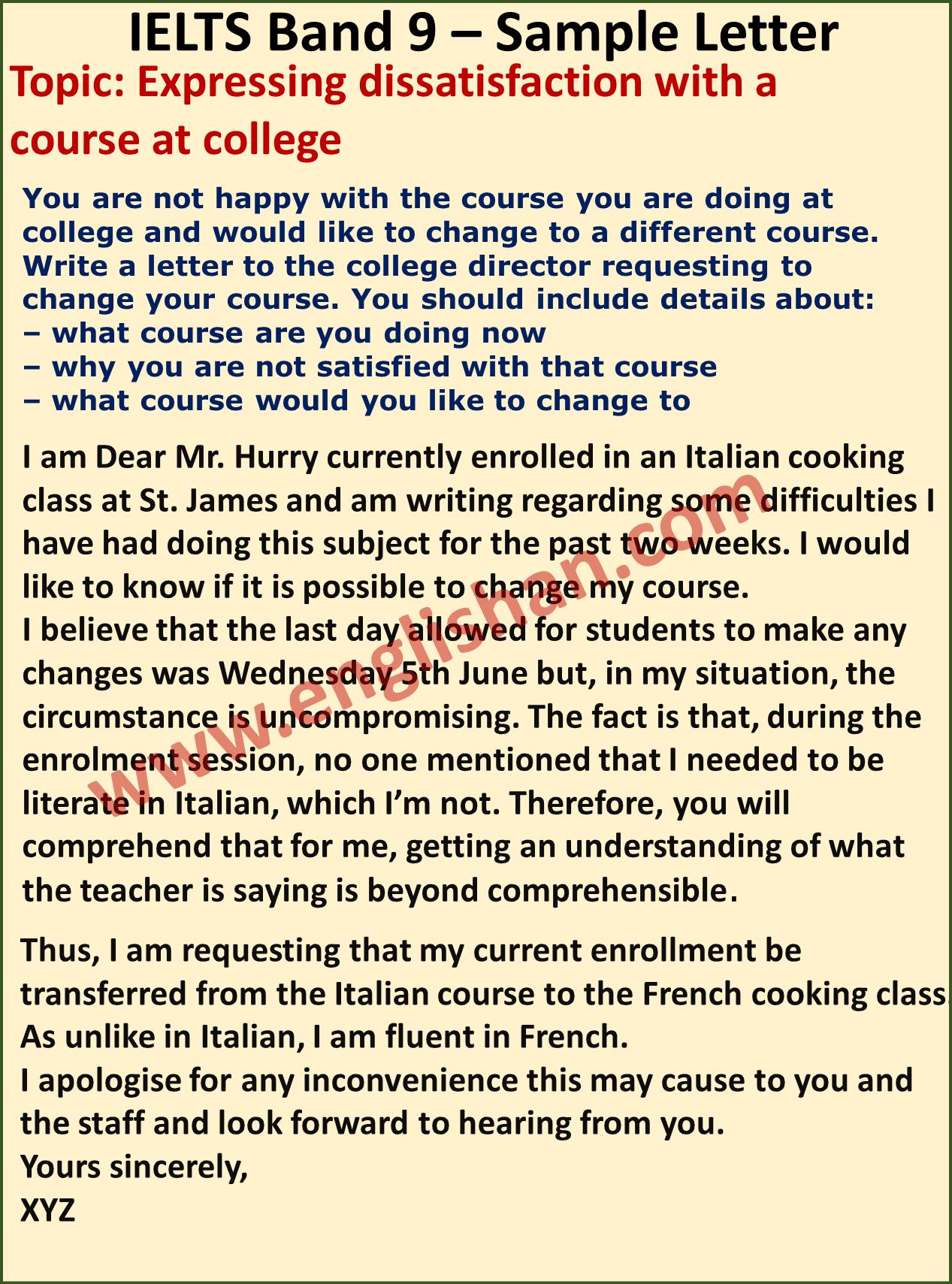 IELTS Formal Letter Topics