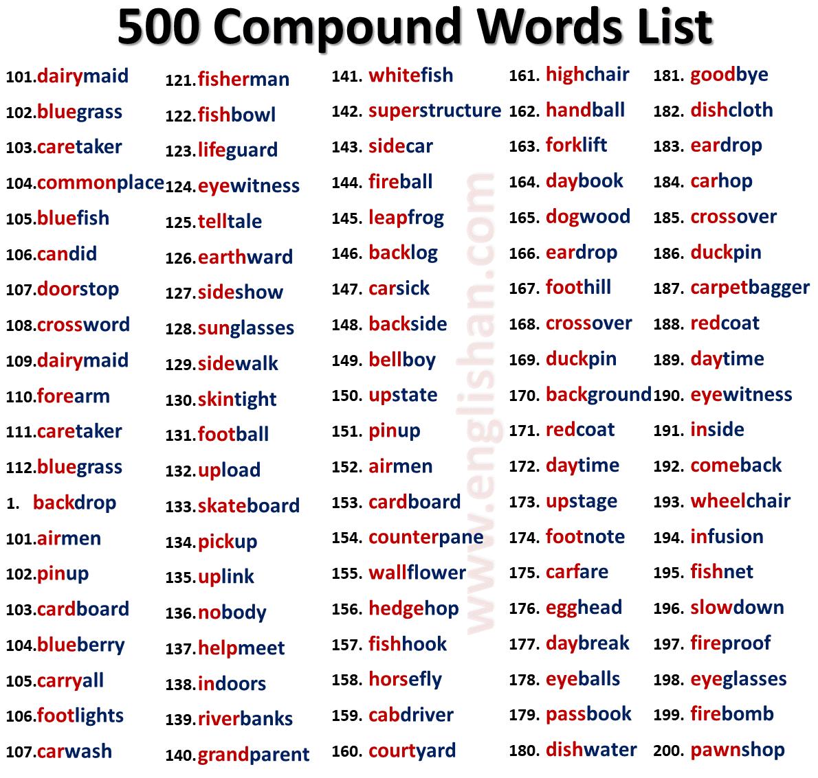 500 Open Compound Words List