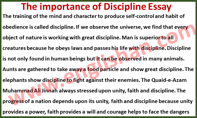 Importance of Discipline Essay 100 Words